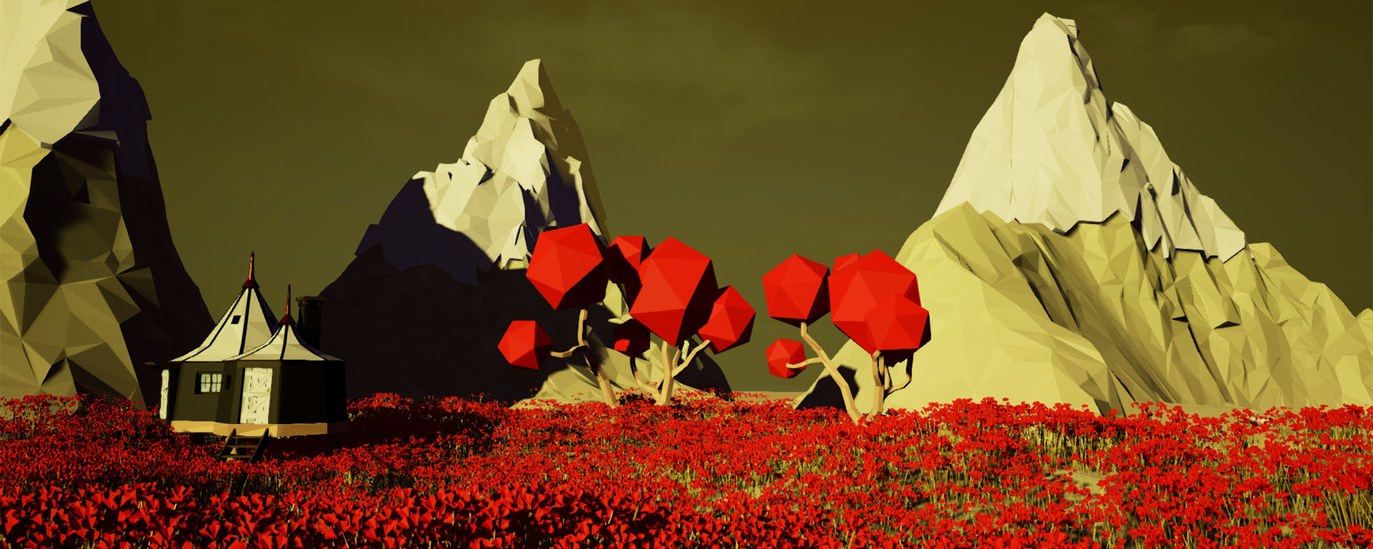 Player created environment with red flowers in Traverse MMO Sandbox